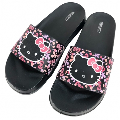小禮堂 Hello Kitty 塑膠厚底拖鞋 EVA拖鞋 室內拖鞋 浴室拖鞋 (黑 花朵)
