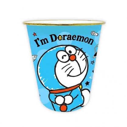 小禮堂 哆啦A夢 圓形無蓋垃圾桶 塑膠垃圾桶 圓垃圾桶 收納桶 (藍 轉身)