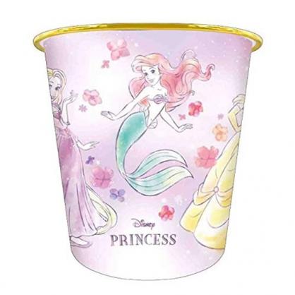 小禮堂 迪士尼 公主 圓形無蓋垃圾桶 塑膠垃圾桶 圓垃圾桶 收納桶 (粉 花朵)