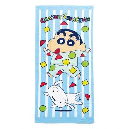 小禮堂 蠟筆小新 純棉割絨浴巾 兒童浴巾 純棉浴巾 身體毛巾 76x152cm (藍 直紋)