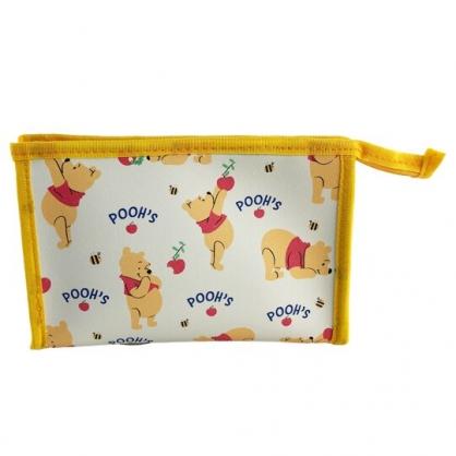 小禮堂 迪士尼 小熊維尼 三角皮質化妝包 腕繩化妝包 皮質收納包 文具包 小物包 (黃 滿版)