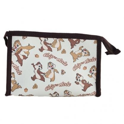 小禮堂 迪士尼 奇奇蒂蒂 三角皮質化妝包 腕繩化妝包 皮質收納包 文具包 小物包 (棕 滿版)