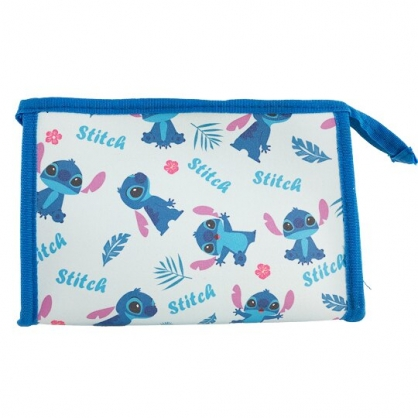小禮堂 迪士尼 史迪奇 三角皮質化妝包 腕繩化妝包 皮質收納包 文具包 小物包 (藍 滿版)