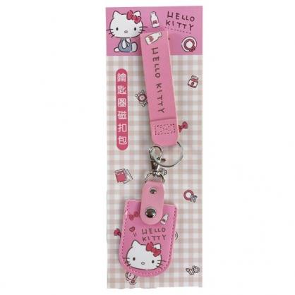 小禮堂 Hello Kitty 皮質扣式鑰匙包 附腕繩 遙控器包 磁扣包 零錢包 鑰匙圈 (粉 大臉)