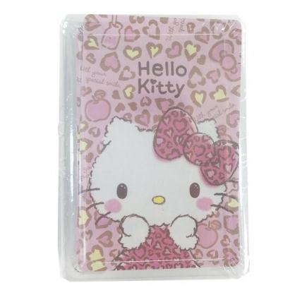 小禮堂 Hello Kitty 盒裝撲克牌 撲克牌玩具 紙牌遊戲 桌遊 (粉 豹紋)