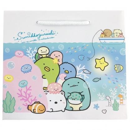 小禮堂 角落生物 橫式方形手提紙袋 禮物紙袋 包裝紙袋 禮品袋 (藍 海底)