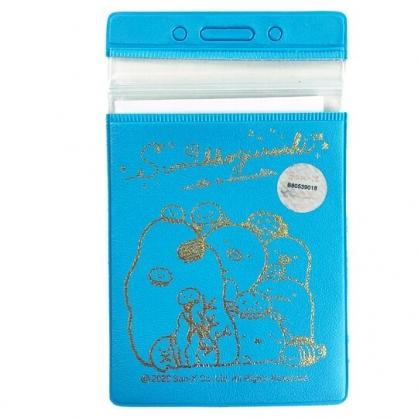 小禮堂 角落生物 直式燙金皮質票卡夾 票卡套 車票夾 證件夾 (藍 海底)
