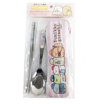 小禮堂 角落生物 兩件式不鏽鋼餐具組 附餐具袋 匙筷 兒童餐具 環保餐具 (粉 橫紋)
