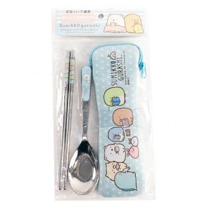 小禮堂 角落生物 兩件式不鏽鋼餐具組 附餐具袋 匙筷 兒童餐具 環保餐具 (藍 點點)