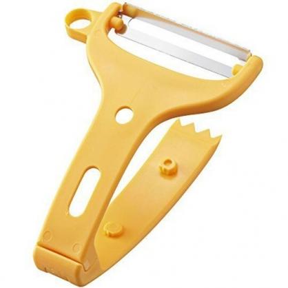 小禮堂 貝印 日製 V型塑膠削皮器 安全削皮器 削皮刀 刨刀 皮引 (黃)
