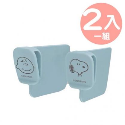 小禮堂 史努比 日製 冰箱門邊分隔夾組 塑膠分隔板 醬料隔板 隔板夾 (2入 藍 大臉)