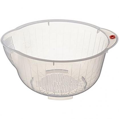 小禮堂 Inomata 日製 圓形塑膠洗米籃 透明洗米籃 瀝水籃 洗米盆 洗菜籃 (白透明)