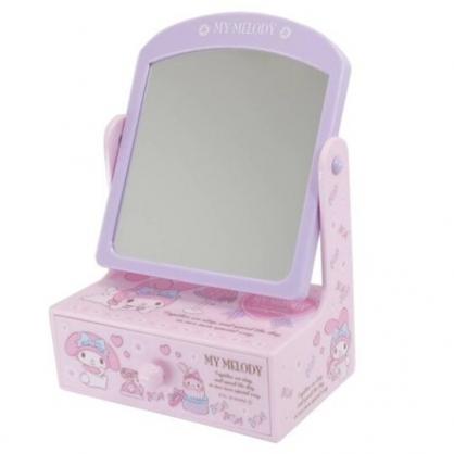 小禮堂 美樂蒂 桌上型化妝鏡抽屜盒 化妝品盒 飾品盒 小物盒 桌鏡 (紫 電話)