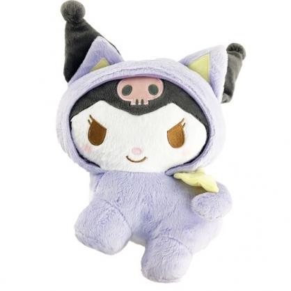 小禮堂 酷洛米 絨毛玩偶 貓裝玩偶 絨毛娃娃 中型玩偶 布偶 (M 紫 貓咪)