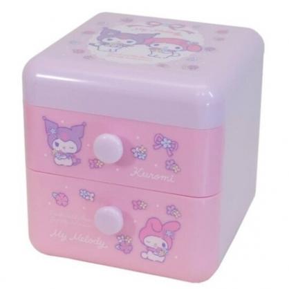 小禮堂 美樂蒂 酷洛米 桌上型塑膠雙抽收納盒 塑膠抽屜盒 文具盒 飾品盒 (粉紫 花束)