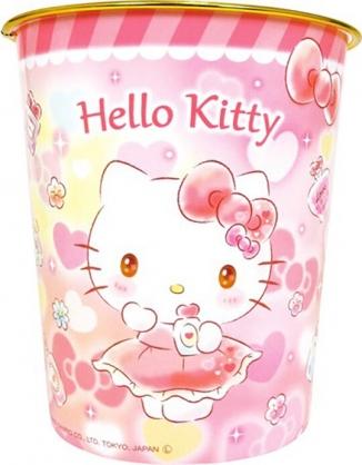 小禮堂 Hello Kitty 圓形無蓋垃圾桶 塑膠垃圾桶 圓垃圾桶 收納桶 (紅 香水)