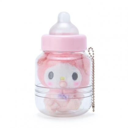 小禮堂 美樂蒂 奶瓶造型絨毛吊飾 瓶裝玩偶 玩偶吊飾 玩偶鑰匙圈 收納罐 (粉)