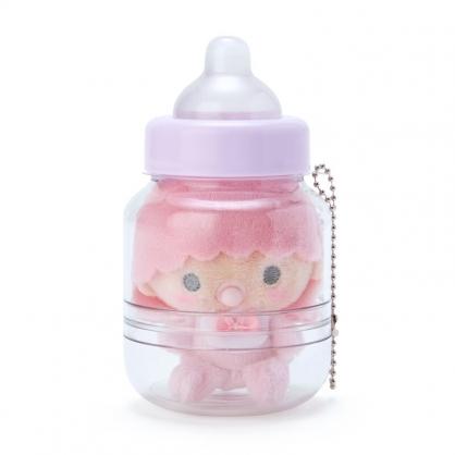 小禮堂 雙子星LALA 奶瓶造型絨毛吊飾 瓶裝玩偶 玩偶吊飾 玩偶鑰匙圈 收納罐 (紫)