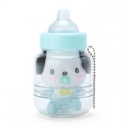 小禮堂 帕恰狗 奶瓶造型絨毛吊飾 瓶裝玩偶 玩偶吊飾 玩偶鑰匙圈 收納罐 (綠)