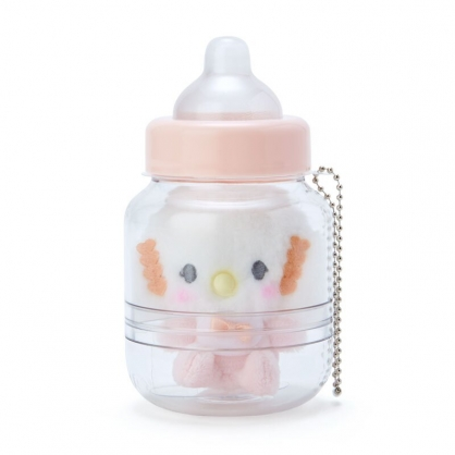 小禮堂 小麥粉 奶瓶造型絨毛吊飾 瓶裝玩偶 玩偶吊飾 玩偶鑰匙圈 收納罐 (橘)
