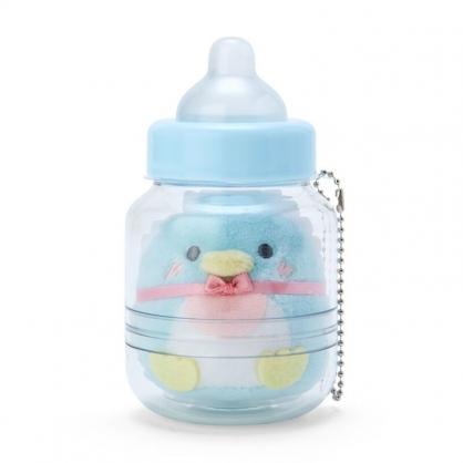 小禮堂 山姆企鵝 奶瓶造型絨毛吊飾 瓶裝玩偶 玩偶吊飾 玩偶鑰匙圈 收納罐 (藍)