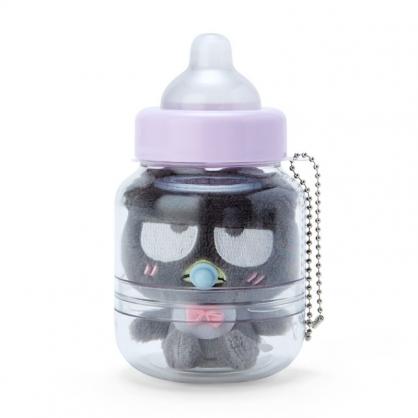 小禮堂 酷企鵝 奶瓶造型絨毛吊飾 瓶裝玩偶 玩偶吊飾 玩偶鑰匙圈 收納罐 (黑)