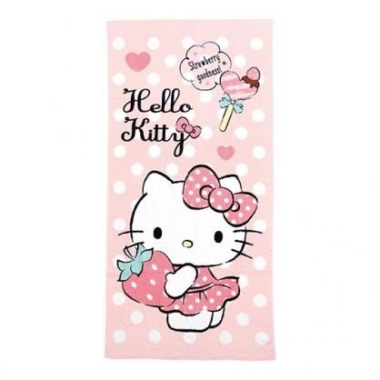 小禮堂 Hello Kitty 純棉割絨浴巾 兒童浴巾 純棉浴巾 身體毛巾 76x152cm (粉 草莓)