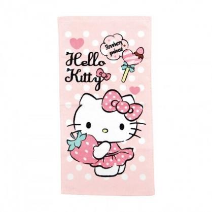 小禮堂 Hello Kitty 純棉割絨長毛巾 兒童毛巾 純棉毛巾 長巾 童巾 28x54cm (粉 草莓)