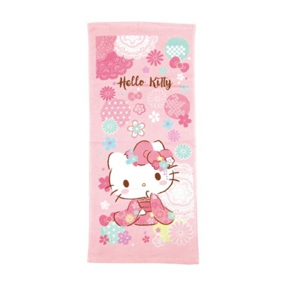 小禮堂 Hello Kitty 純棉割絨浴巾 兒童浴巾 純棉浴巾 身體毛巾 76x152cm (粉 和服)