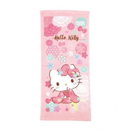 小禮堂 Hello Kitty 純棉割絨長毛巾 兒童毛巾 純棉毛巾 長巾 童巾 28x54cm (粉 和服)
