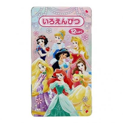小禮堂 迪士尼 公主 日製 鐵盒裝12色鉛筆組 蠟筆 彩繪筆 塗鴉筆 (粉 鑽石)