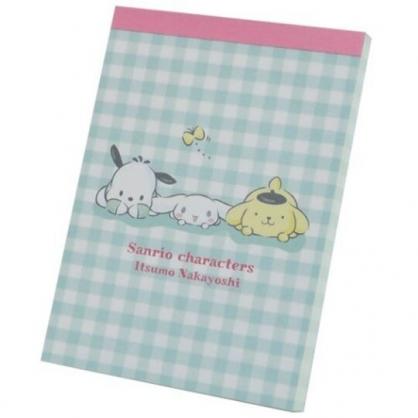 小禮堂 Sanrio大集合 日製 迷你便條本 便條紙 便箋本 備忘錄 (綠 格紋)