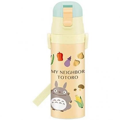 小禮堂 龍貓 彈蓋不鏽鋼保溫瓶 不鏽鋼水瓶 兒童水壺 隨身瓶 470ml (黃 蔬果)