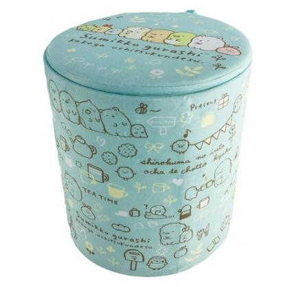 小禮堂 角落生物 折疊絨毛拿蓋收納桶 玩具桶 衣物桶 絨毛矮凳 小圓椅 (藍)