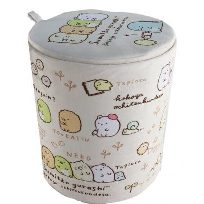 小禮堂 角落生物 折疊絨毛拿蓋收納桶 玩具桶 衣物桶 絨毛矮凳 小圓椅 (米)