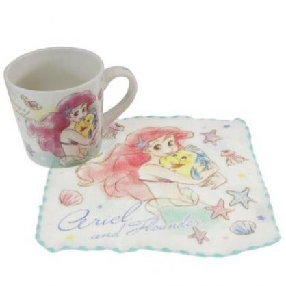 小禮堂 迪士尼 小美人魚 陶瓷馬克杯 附方巾 咖啡杯 茶杯 手帕 (綠 抱抱)