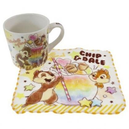 小禮堂 迪士尼 奇奇蒂蒂 陶瓷馬克杯 附方巾 咖啡杯 茶杯 手帕 (棕 飲料)