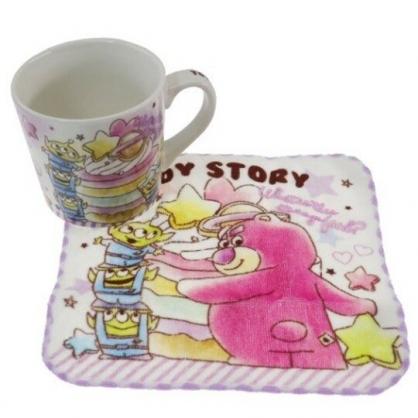 小禮堂 迪士尼 玩具總動員 陶瓷馬克杯 附方巾 咖啡杯 茶杯 手帕 (紫 甜點)