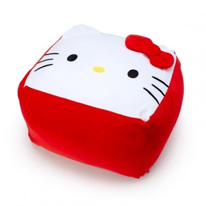 小禮堂 Hello Kitty 方形絨毛抱枕 絨毛坐墊 懶骨頭 椅背枕 方坐墊 (紅 大臉)