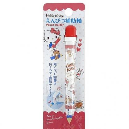 小禮堂 Hello Kitty 鉛筆輔助軸 鉛筆延長器 鉛筆加長 (紅 鬆餅)