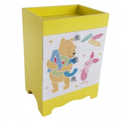 小禮堂 迪士尼 小熊維尼 直式木質三抽收納盒 木抽屜盒 文具盒 飾品盒 儲物盒 (黃 字母)