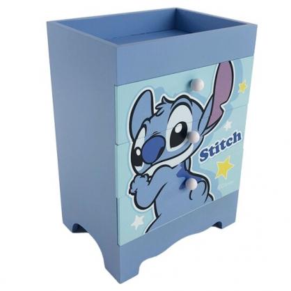 小禮堂 迪士尼 史迪奇 直式木質三抽收納盒 木抽屜盒 文具盒 飾品盒 儲物盒 (藍 轉身)