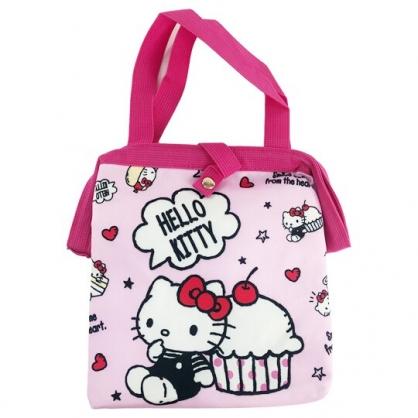 小禮堂 Hello Kitty 硬式支架尼龍保冷便當袋 保冷提袋 保溫袋 野餐袋 (粉 蛋糕)