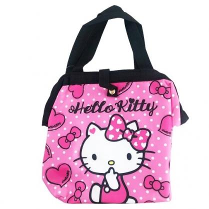 小禮堂 Hello Kitty 硬式支架尼龍保冷便當袋 保冷提袋 保溫袋 野餐袋 (桃 點點)