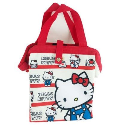 小禮堂 Hello Kitty 硬式支架尼龍保冷便當袋 保冷提袋 保溫袋 野餐袋 (米 橫紋)