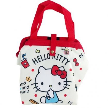 小禮堂 Hello Kitty 硬式支架尼龍保冷便當袋 保冷提袋 保溫袋 野餐袋 (米 側坐)
