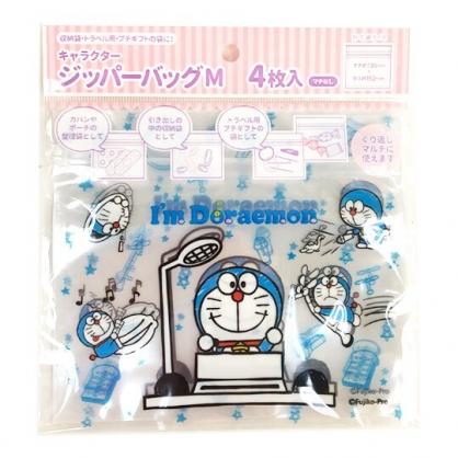 小禮堂 哆啦A夢 橫式方形透明夾鏈袋組 塑膠分裝袋 糖果袋 飾品袋 銅板小物 (M 4入 綠)