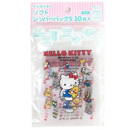 小禮堂 Hello Kitty 直式方形透明夾鏈袋組 塑膠分裝袋 糖果袋 飾品袋 銅板小物 (S 10入 紅)