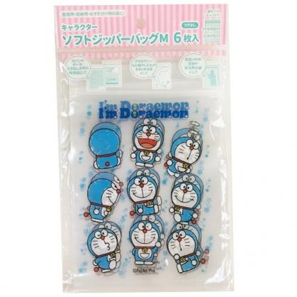 小禮堂 哆啦A夢 直式方形透明夾鏈袋組 塑膠分裝袋 糖果袋 飾品袋 銅板小物 (M 6入 藍)
