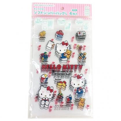 小禮堂 Hello Kitty 直式方形透明夾鏈袋組 塑膠分裝袋 糖果袋 飾品袋 銅板小物 (L 4入 紅)